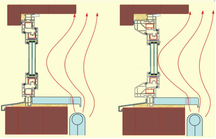 Подоконник с установленной вентиляционной решёткой