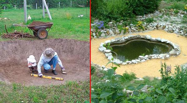 Процесс строительства искусственного водоёма