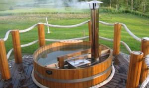 Купель с печкой из нержавеющей стали, топится дровами