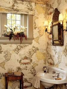 Отделка стен ванной виниловыми обоями