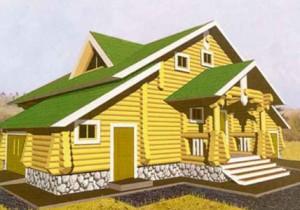 Дом из сруба с деревянным крыльцом