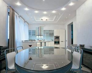 Пример использования встраиваемых светильников в системе общего освещения кухонного помещения
