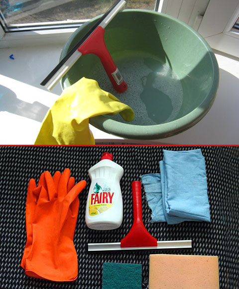 Комплект инструментов и материалов для мойки окон