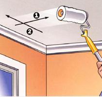 Можно ли и как покрасить потолок после побелки?