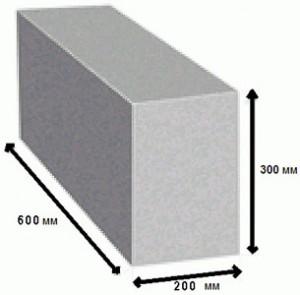 Полноценный пеноблок 600х300х200