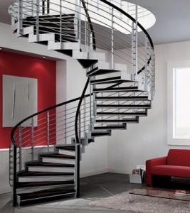 Лестница радиусного типа на двух косоурах