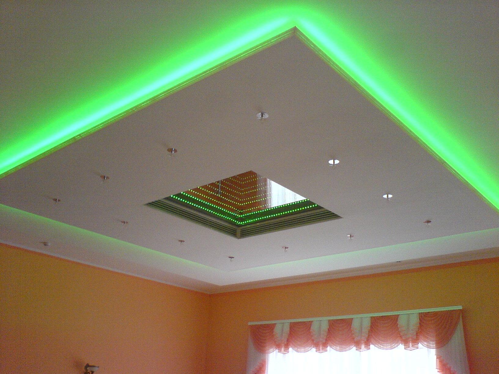 потолки гипсокартонные с подсветкой фото
