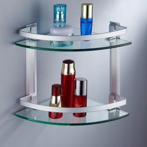 Space-aluminum-hundreds-of-bathroom-shelf-glass-shelf-double-layer-corner-bracket-tripod
