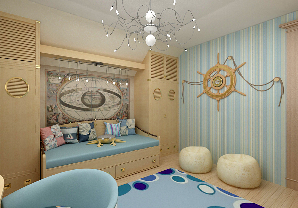Дизайн в морском стиле комната мальчика