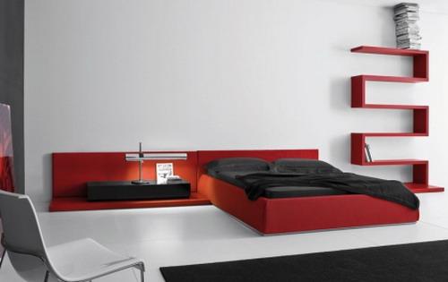 Minimalist-red-furniture-modern-bedroom-design