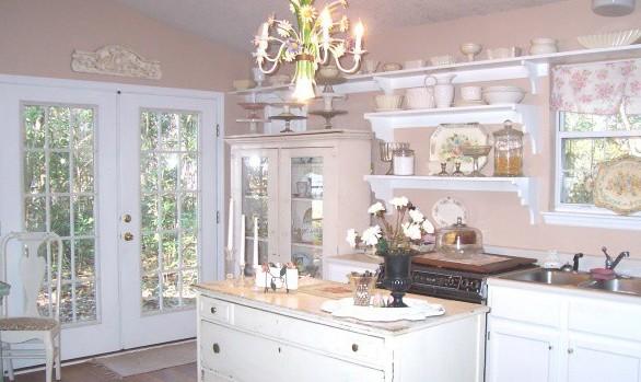 Стиль шебби шик в интерьере кухни