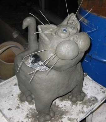 фигурка кота для сада своими руками