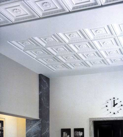 Painting ceiling tiles black