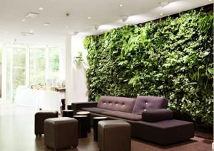 Фото: стена из живых растений в гостиной комнате