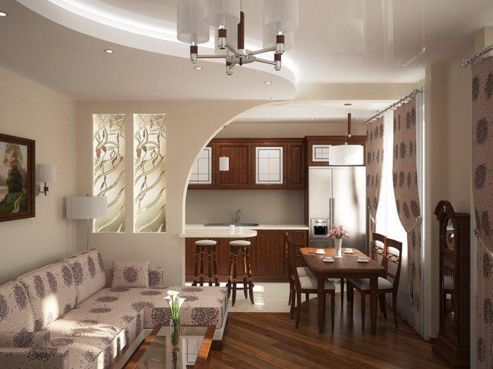 Дизайн совмещенной кухни и прихожей в частном