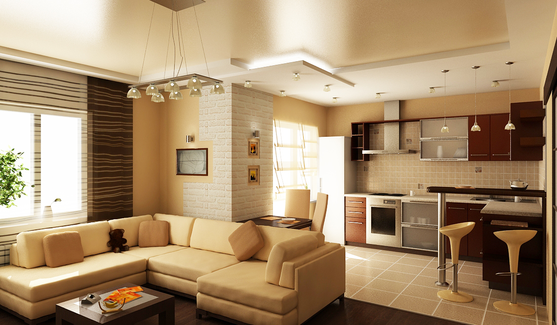 Дизайн зал и кухня совмещенная