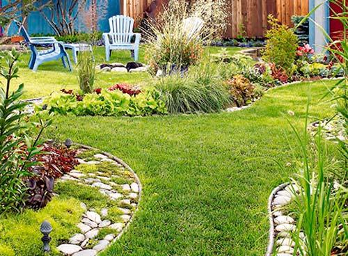 частный дом двор газон