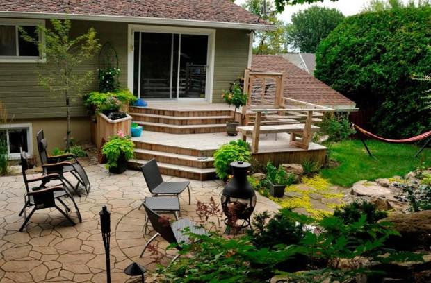частный дом двор камень