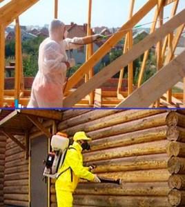 Выполнение работ по обработке конструкций деревянного дома огнезащитными составами
