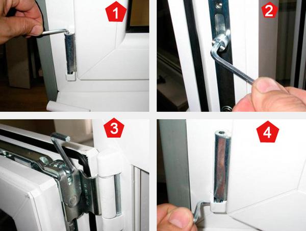Регулировки петель пластикового окна (Рис. 1-4)