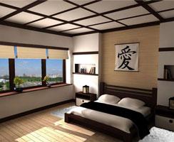Японский стиль в интерьере спальни
