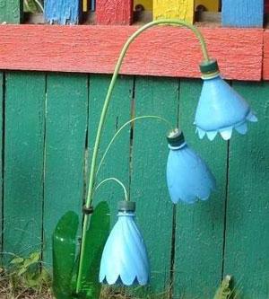 Цветы колокольчики из пластиковых бутылок