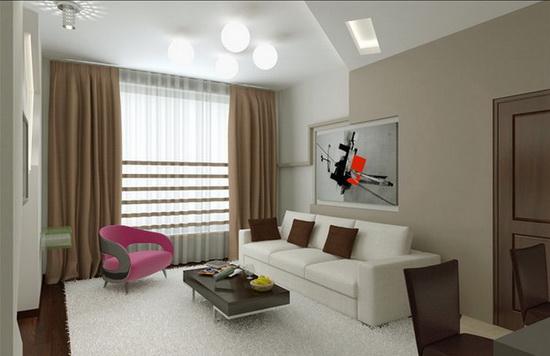 Гостиная в стиле минимализм - освещение и декор