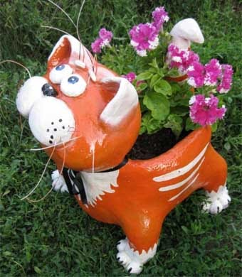 Делаем фигурку кота для сада своими руками