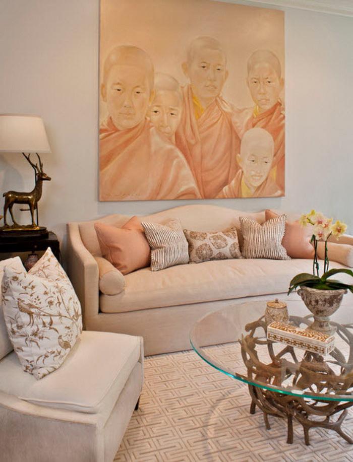 Персиковый цвет в интерьере квартиры