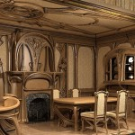 Фото: Деревянная мебель в стиле модерн для гостиной